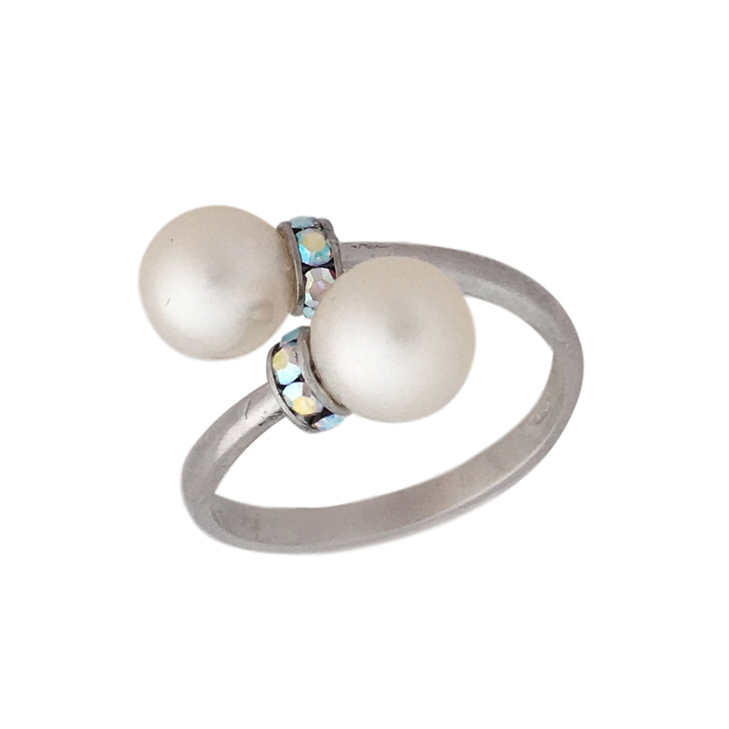 Two pearls and silver and Swarovski open ring
