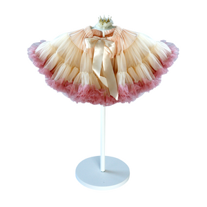 Champagne and Dusty Rose tutu. Soft chiffon full tutu skirt. Princess birthday. Flower girl. Bridal party.