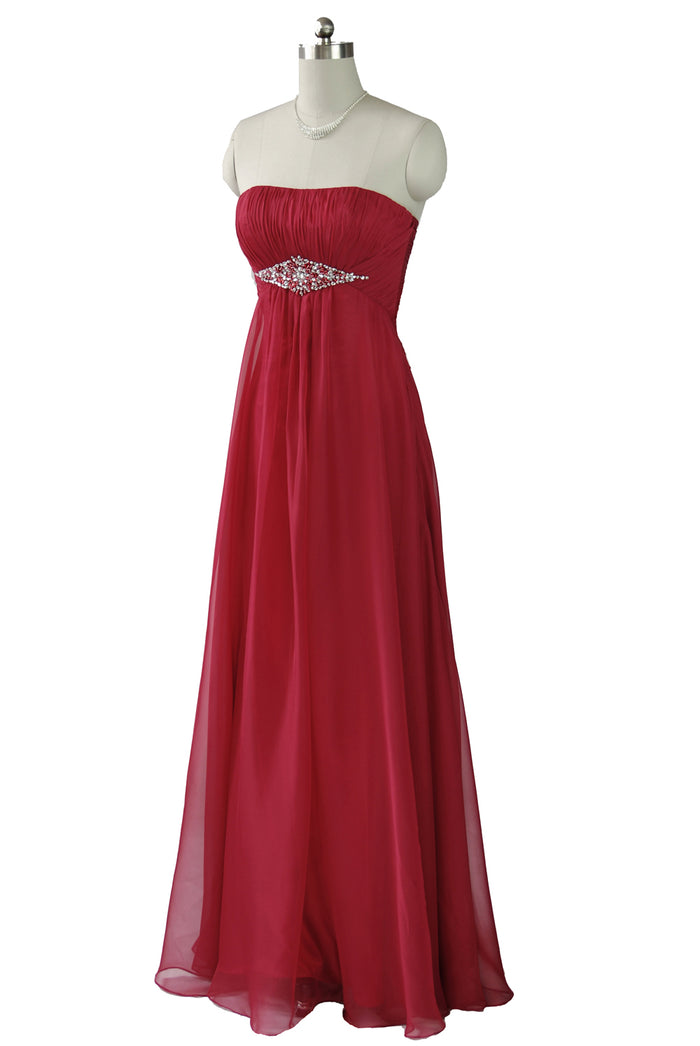 Simple But Stunning Strapless Red Chiffon dress with gems in a diamond shape on the waist.