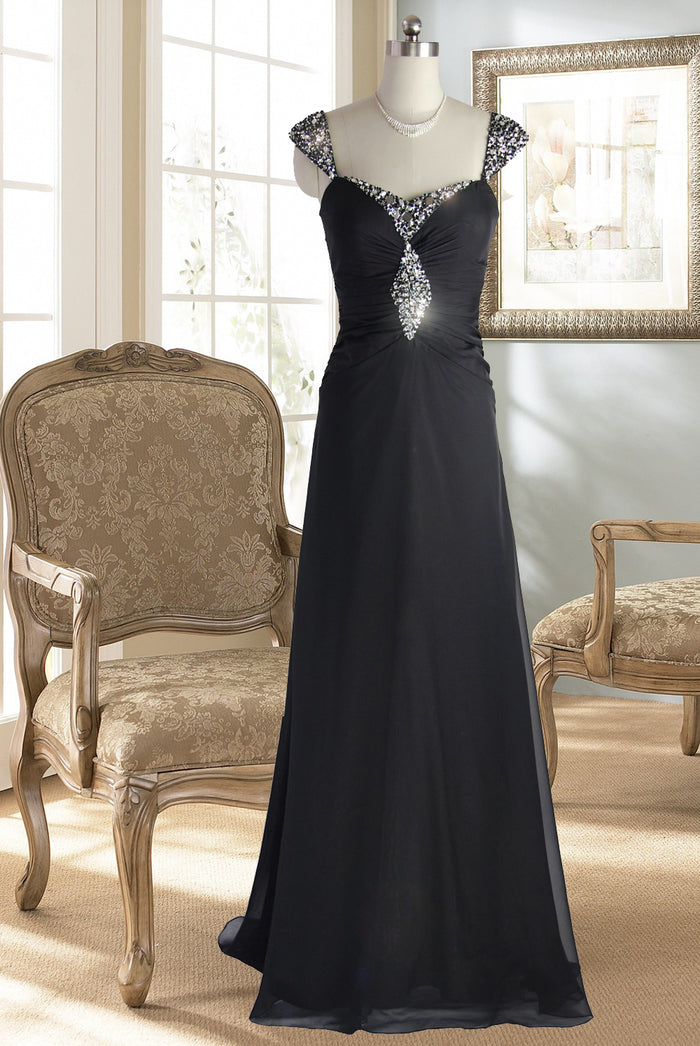 Black Chiffon Beaded Evening Gown and Formal Dress