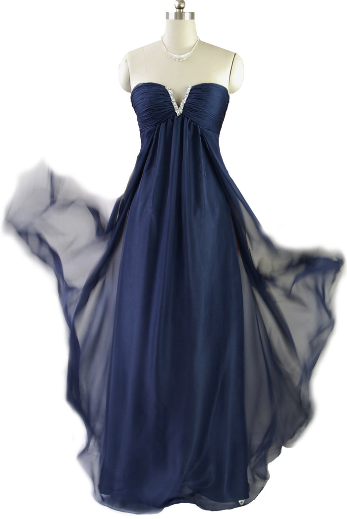 Blue Ruched Bodice Strapless Chiffon Dress