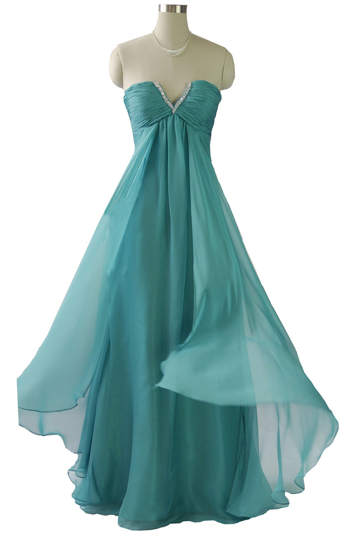 Green Ruched Bodice Strapless Chiffon Dress