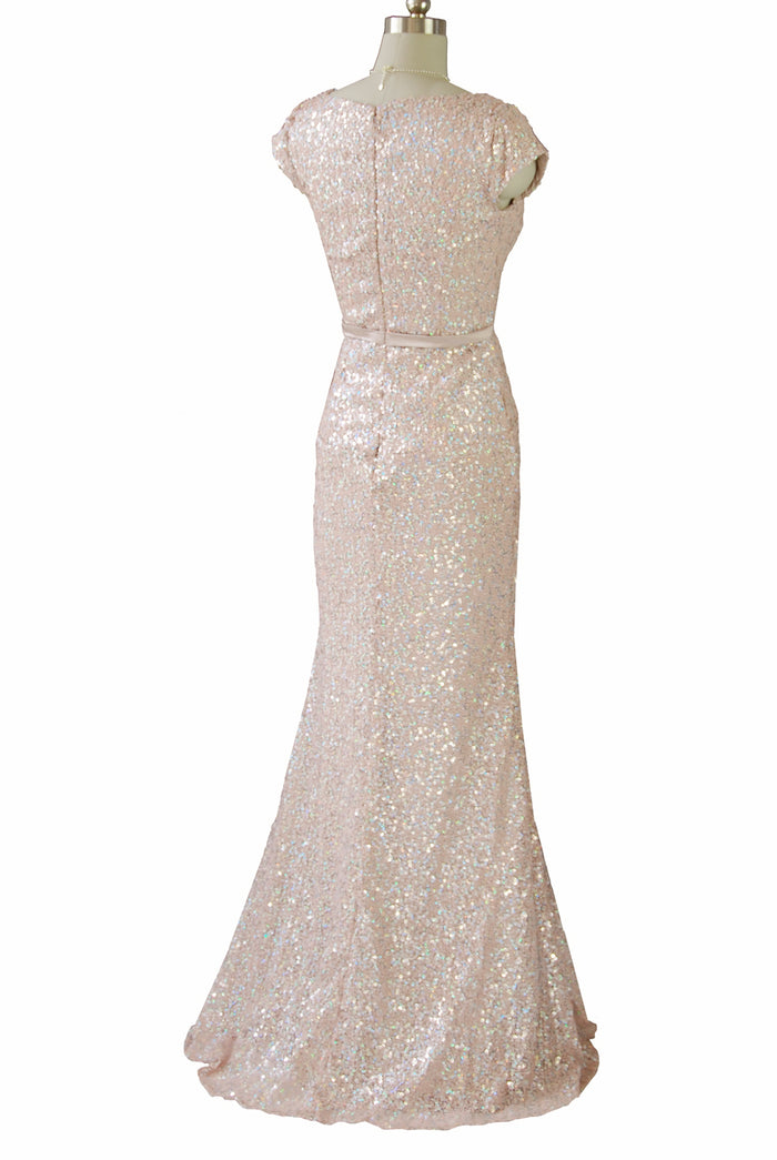 Sparkle at the party with this pink sequinned fit and flare evening dress