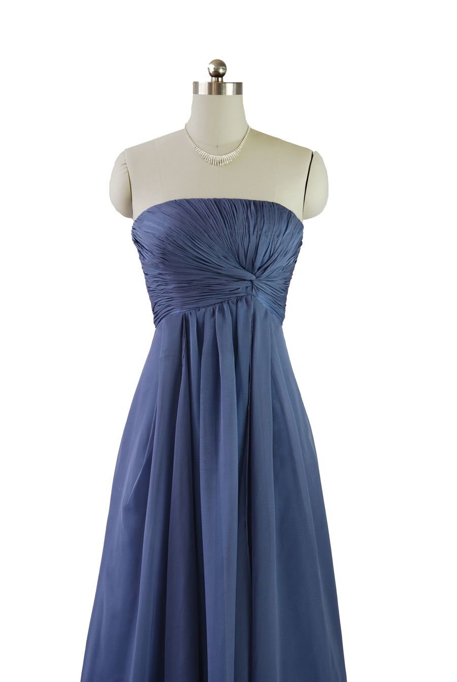 Long Blue chifon Dress for a bridesmaid, prom or evening wear