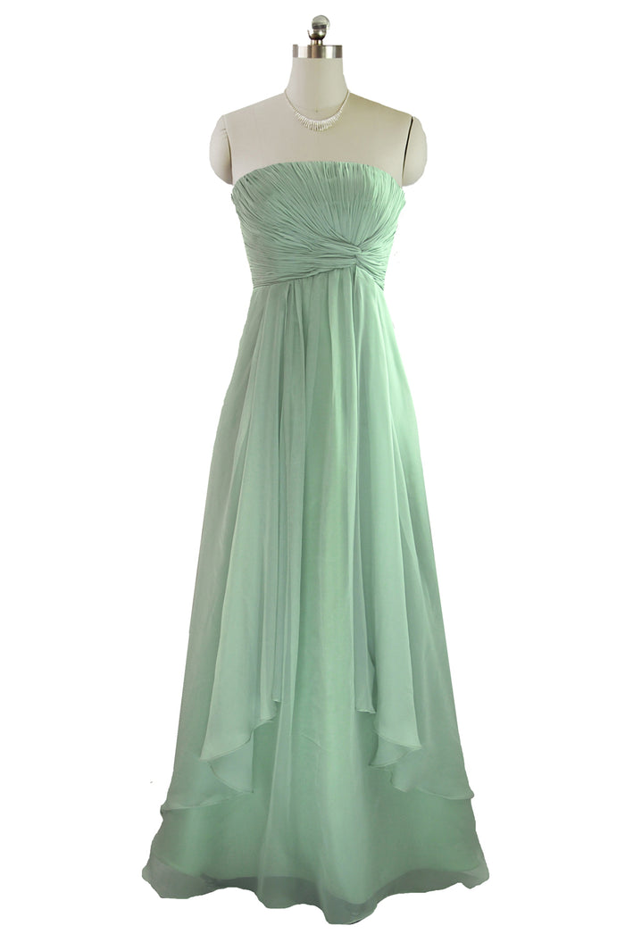 Long pale mint green chifon Dress for a bridesmaid, prom or evening wear