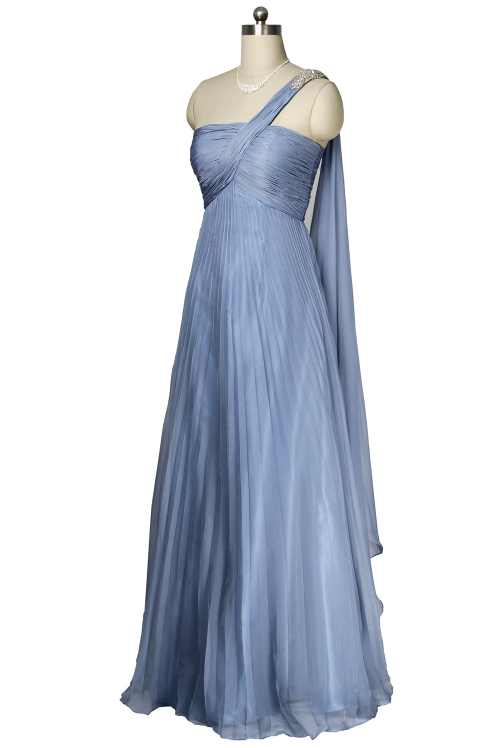 Blue Ruched Bodice one strap Chiffon Dress