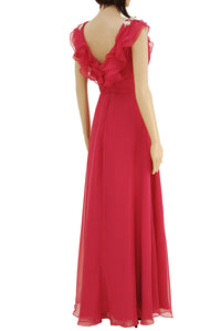 Pretty Vivid Pink Flowing Chiffon Evening Dress