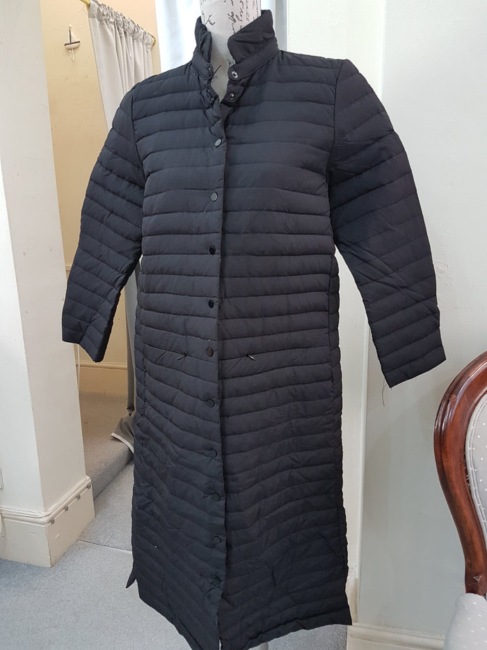 Long Black Quilted Coat
