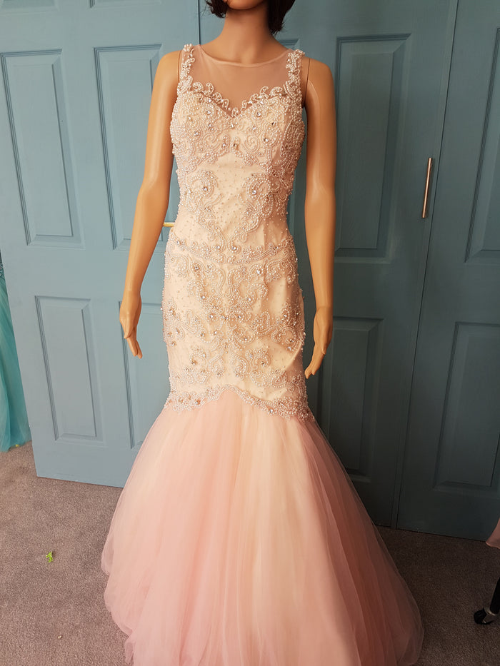Stunning Baby Pink fishtail with fitted body that is adorn with pearls and rhinestones
