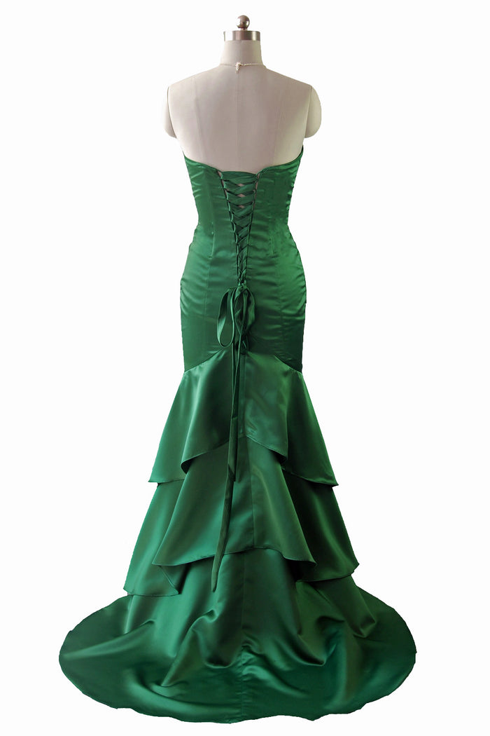 Green strapless long evening dress formal gown