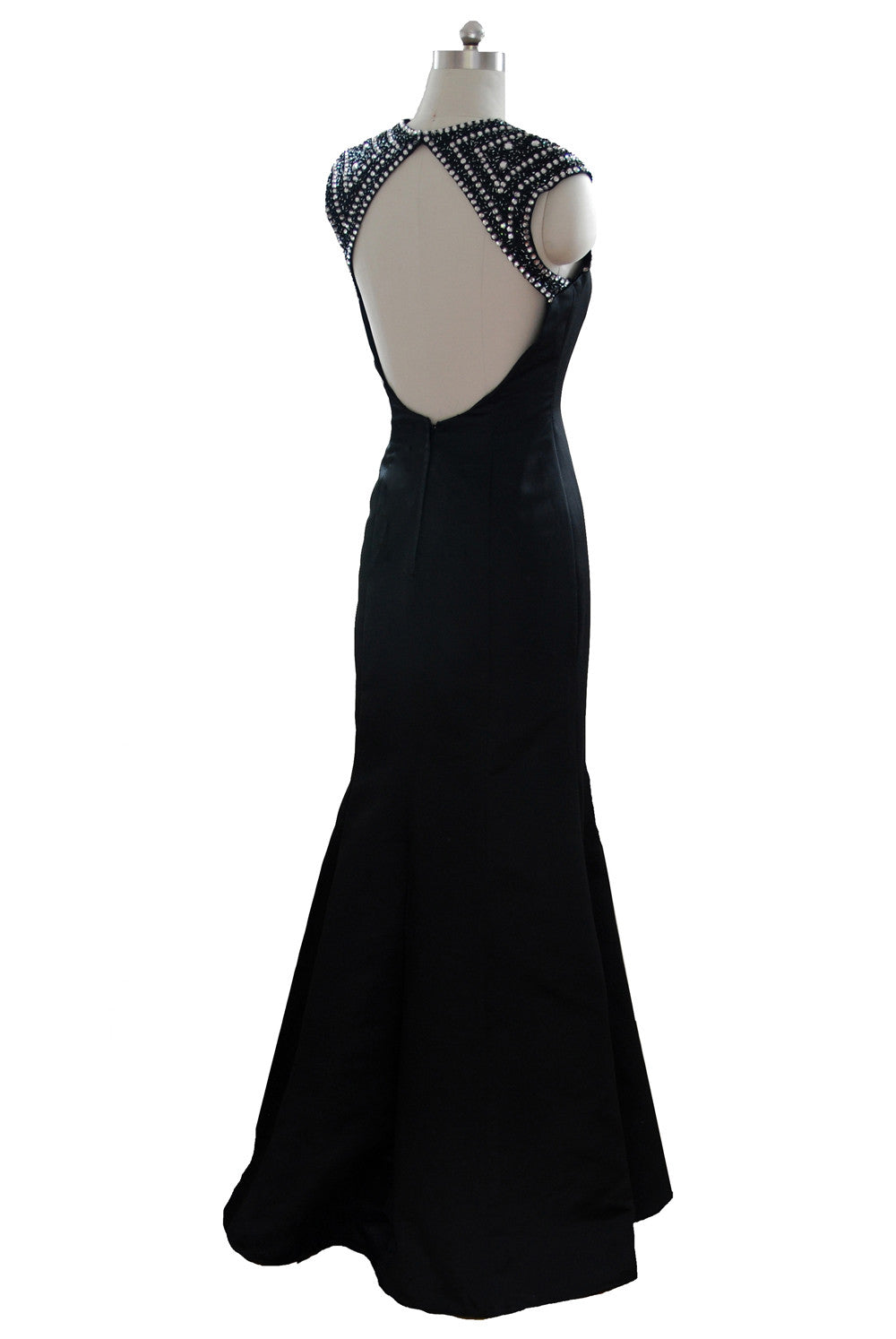 Sheer V neckline Open backed full length satin dress