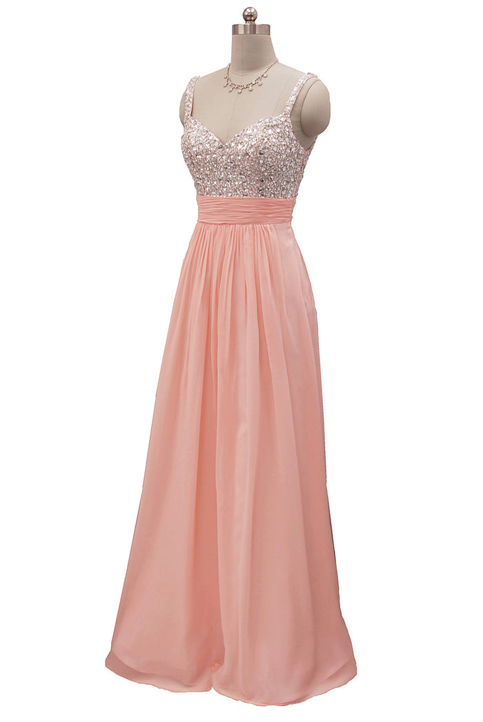 Baby Pink Chiffon dress with a Sparkling Rhinestone bodice for the prom or party