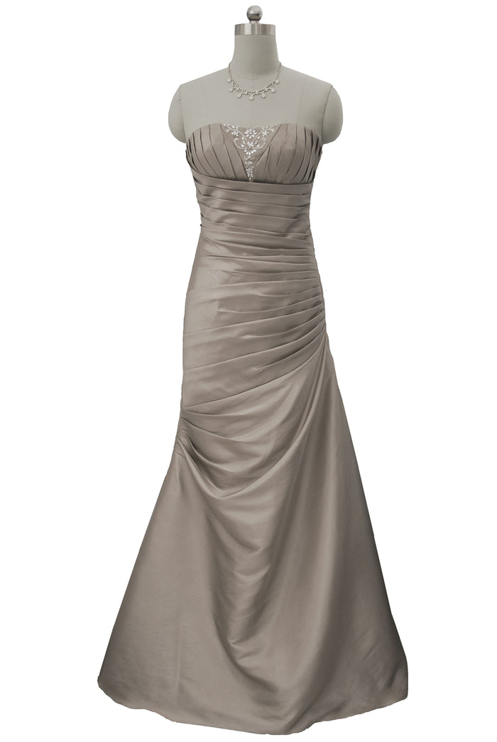 Champagne Taffeta Laced Up Back Evening Dress