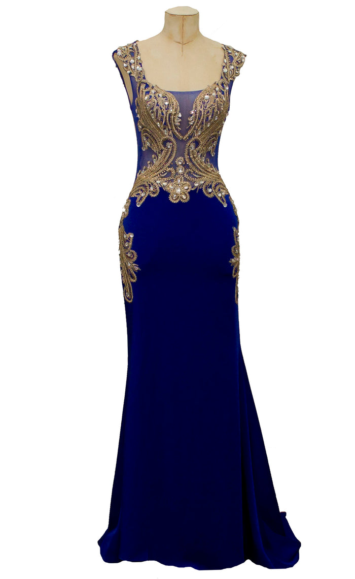 Blue and gold embroided full length evening dress with sheer bodice