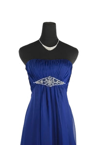 Simple But Stunning Strapless Blue Chiffon dress with gems in a diamond shape on the waist.