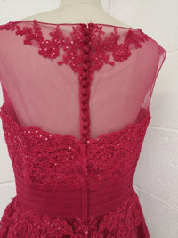 Short Cerise Lace Evening Dress Size 14