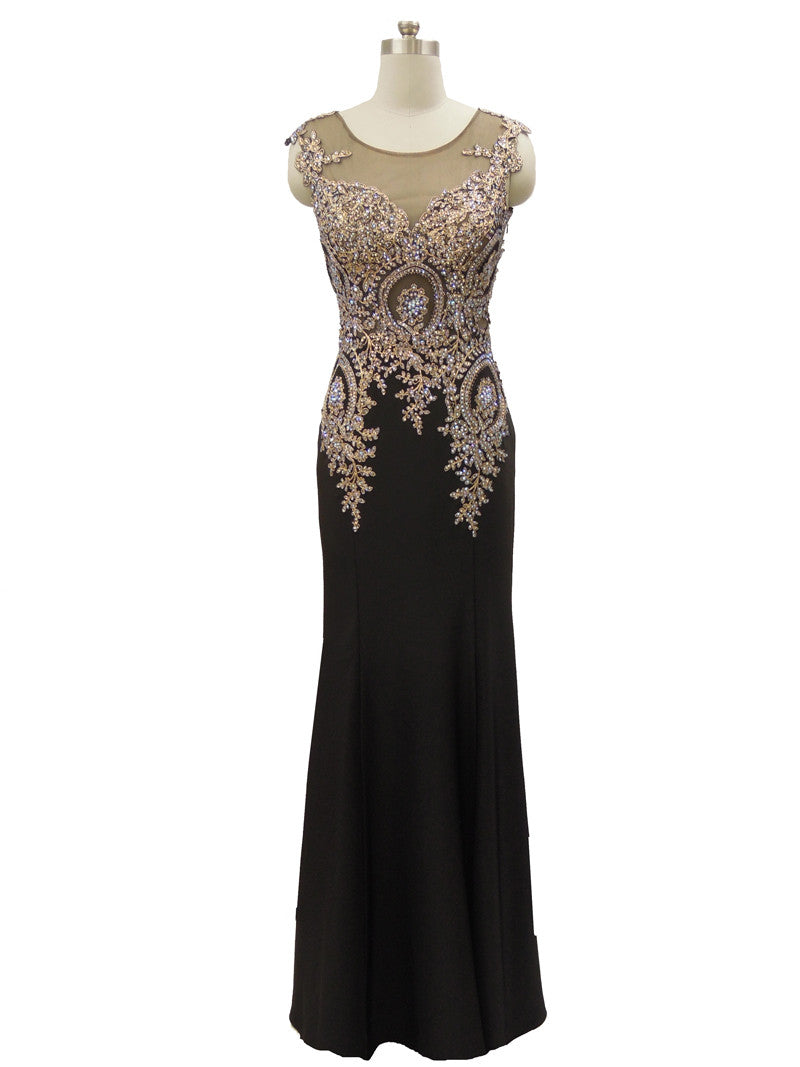 Black and gold embellished rhinestone sheer neckline illusion evening dress