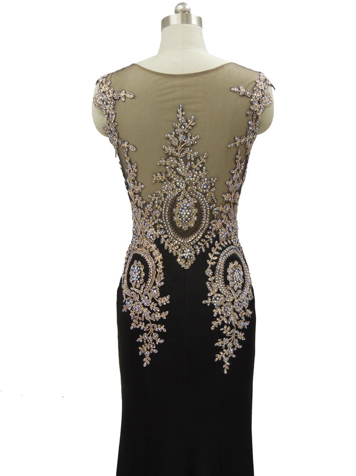 3490746d00ec Black and gold embellished rhinestone sheer neckline illusion evening dress  ...