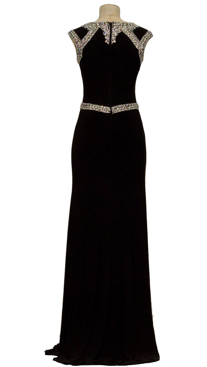 Black rhinestone and beaded sheer neckline illusion evening dress