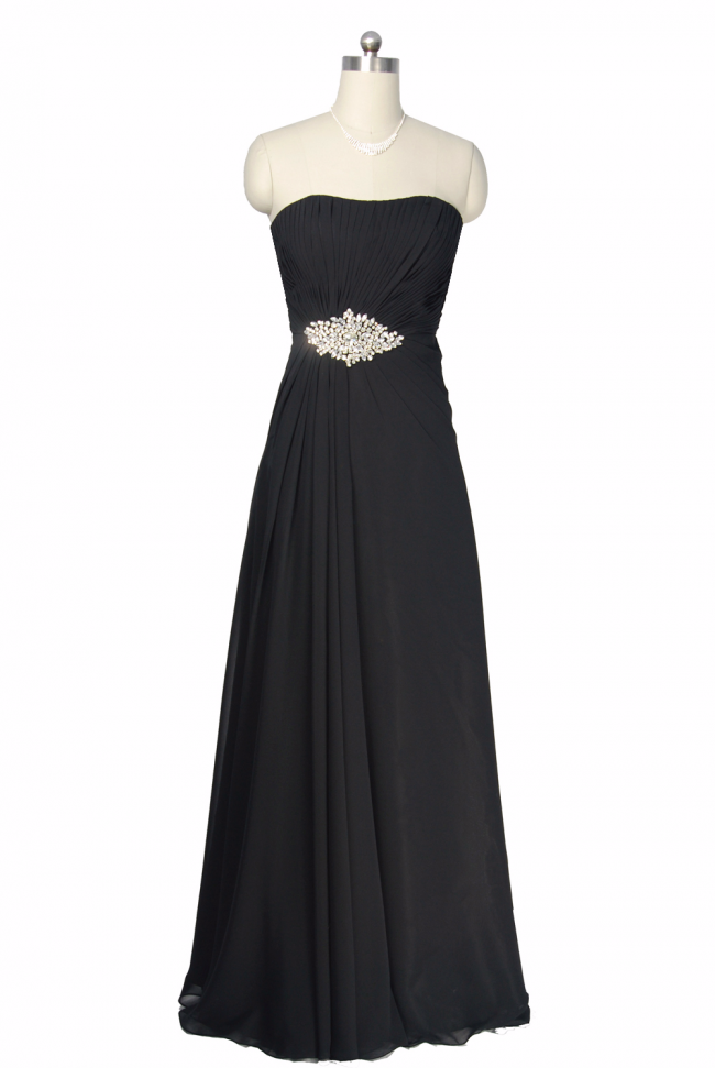 Black Elegant Long Chiffon Evening Dress