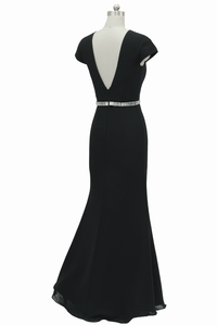 Black V neckline with mesh overlay long evening dress