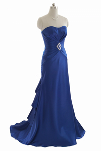 Blue strapless long evening dress formal gown
