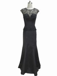 Black Sheer lace neckline Evening dress