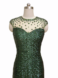 Cupid Couture Green Sequin Formal Dress