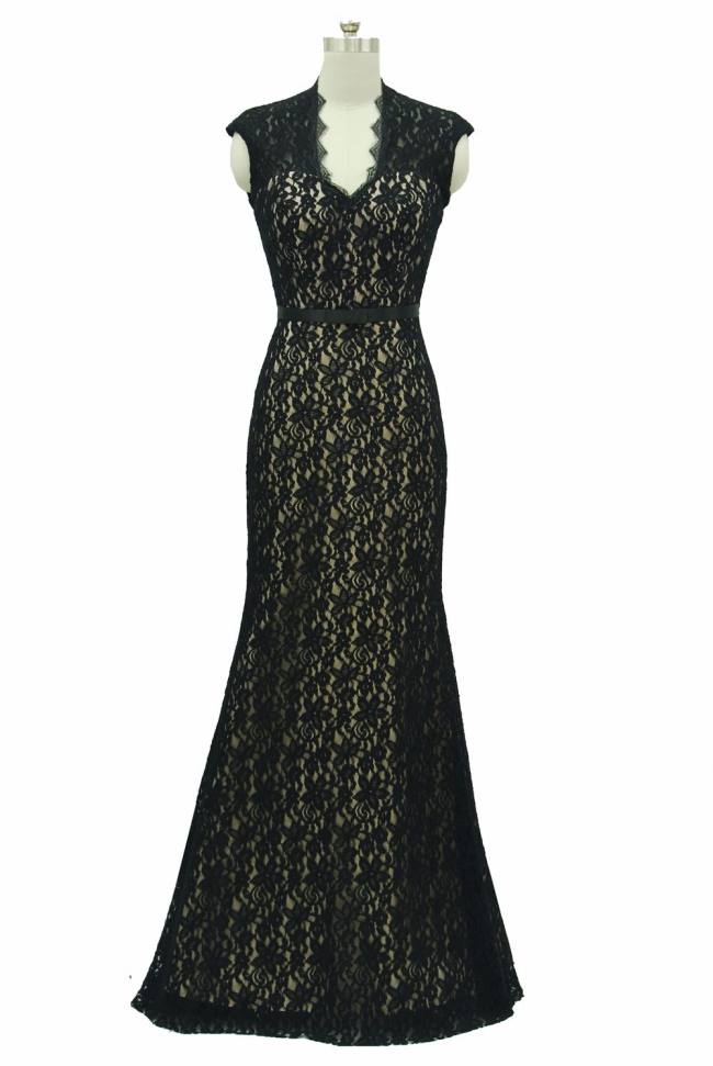 Demure Black lace V neckline with scallop open back design evening dress