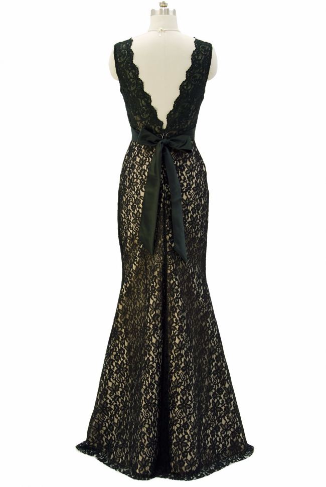 Dishy Black lace evening dress with V neckline sash bow