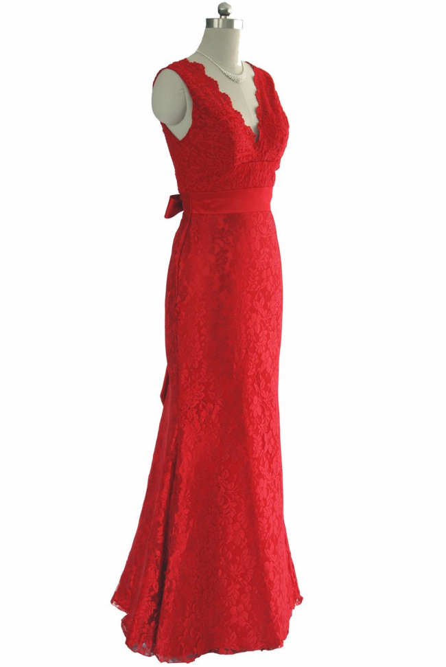 Dishy Red V neckline Lace Full length Formal dress