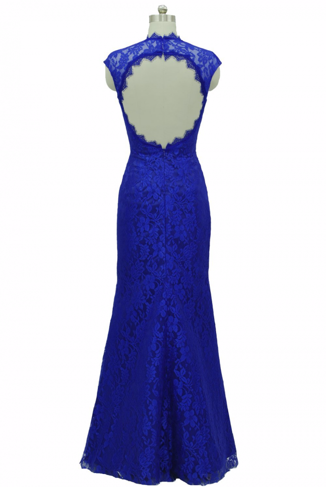 Dishy Scalloped Blue lace formal with cap sleeves
