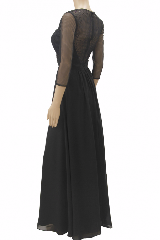 Black Sheer Boat Neckline 3/4 Sleeve Lace Chiffon Long Evening Dress