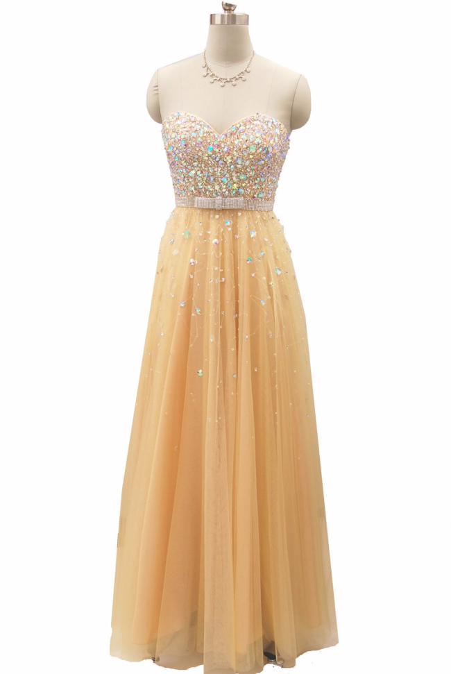 Gold and Nude Champagne Strapless Sweetheart rhinestone sequin full length evening prom ball gown
