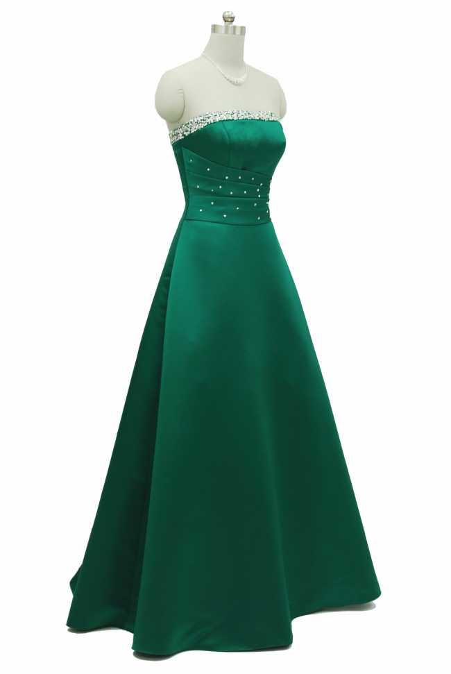 Green Beaded Evening Dress