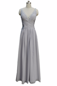Grey V neck sleeveless formal gown bridesmaid occasion wear