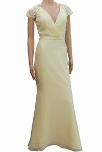 Lace & Chiffon Lemon Cream  Cap Sleeves Evening Dress