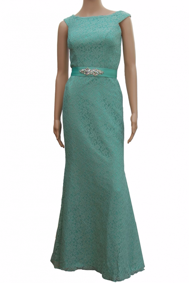 Lace Pastel Green Long Evening Dress with bateau neckline
