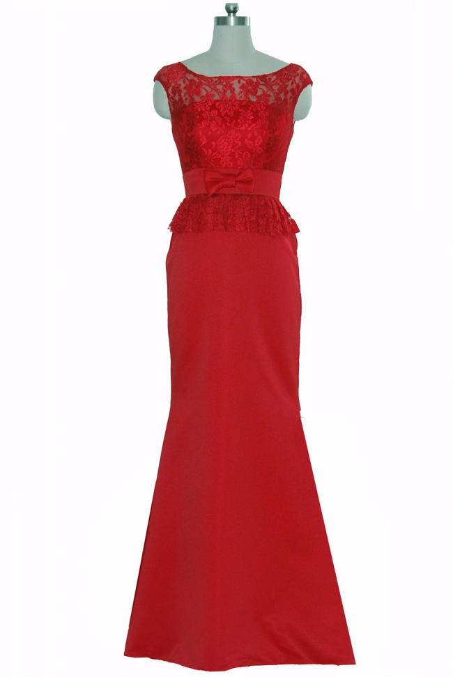 Red Lace Satin cap sleeve long evening dress