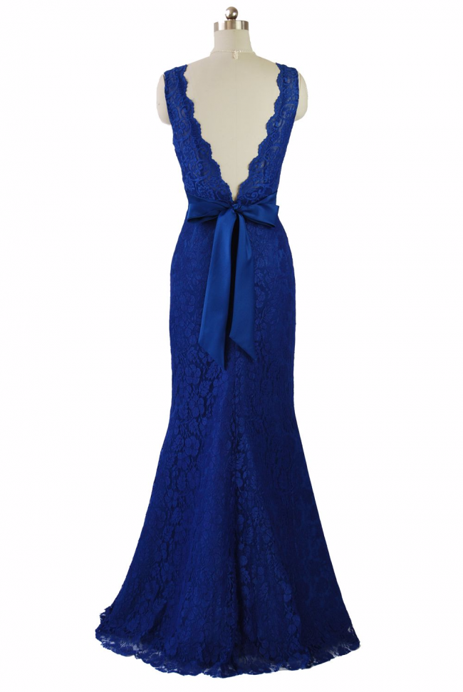 Lavish Royal Blue V neckline Lace Evening gown