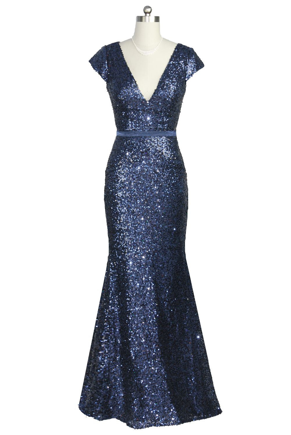 Midnight Blue Sequin Capped Long Evening Dress Prom Pageant Dress ball gown