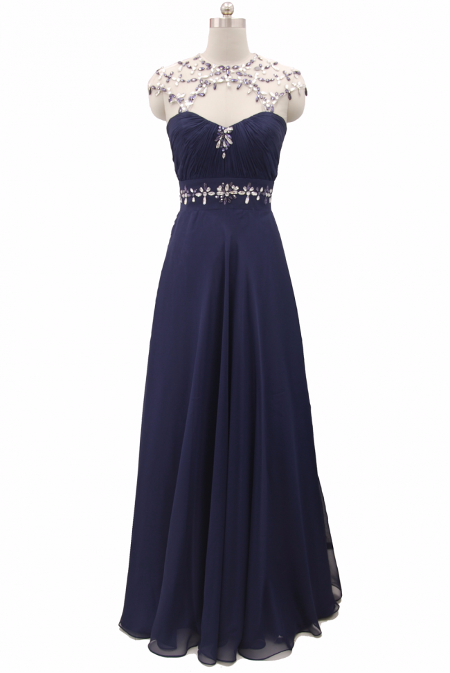 Midnight BLUE Chiffon Evening Maxi Dress