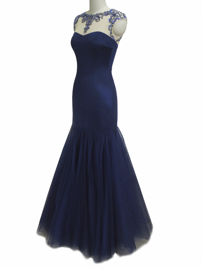 Midnight Blue mermaid rhinestone embellish full length evening cruise prom gown