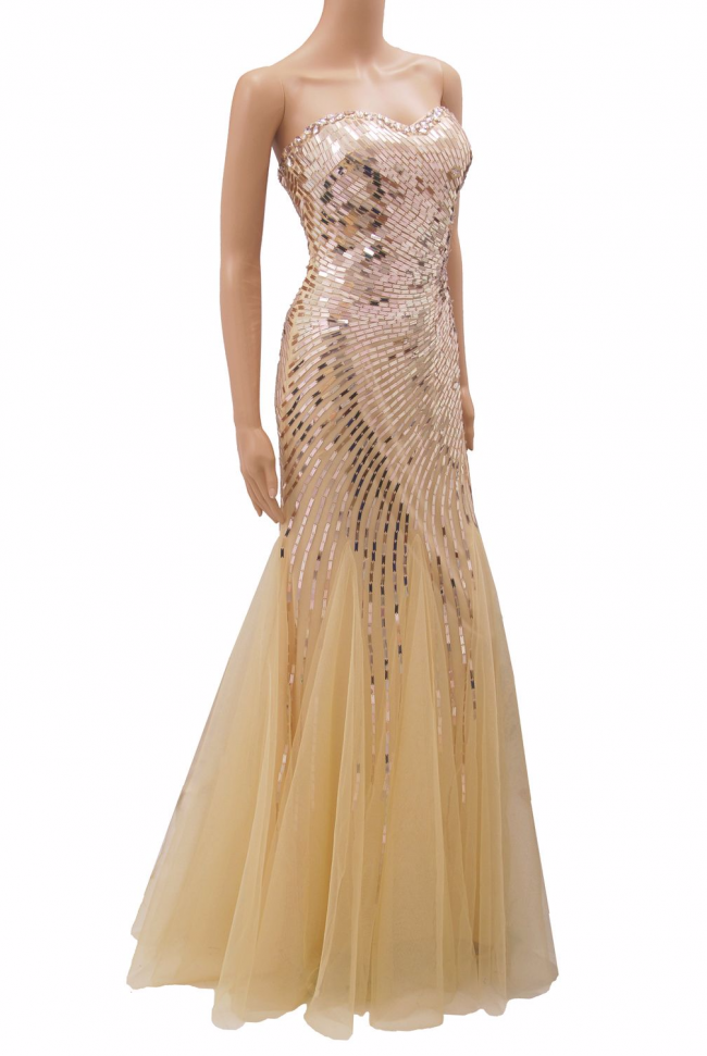Nude Champagne Metallic Sequin Beading Mermaid Evening Dress
