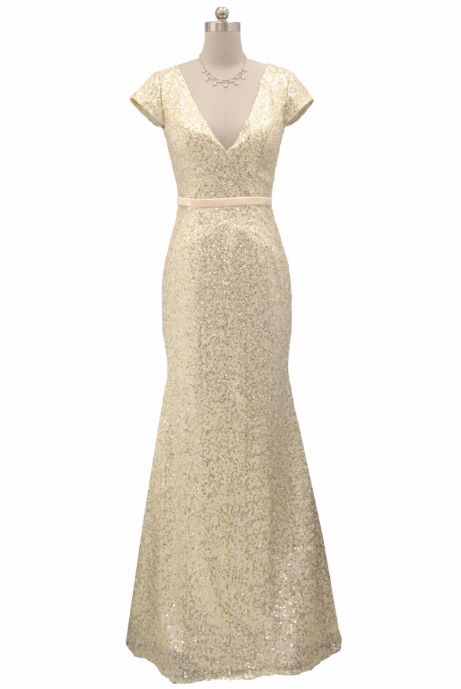 Pale gold sequined cap sleeve plunge neckline full length evening dress