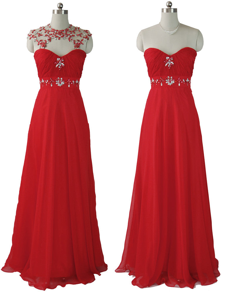 Red Chiffon Beaded Long Evening Sheaf Dress
