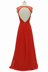 Red chiffon sheer capped beaded long party dress
