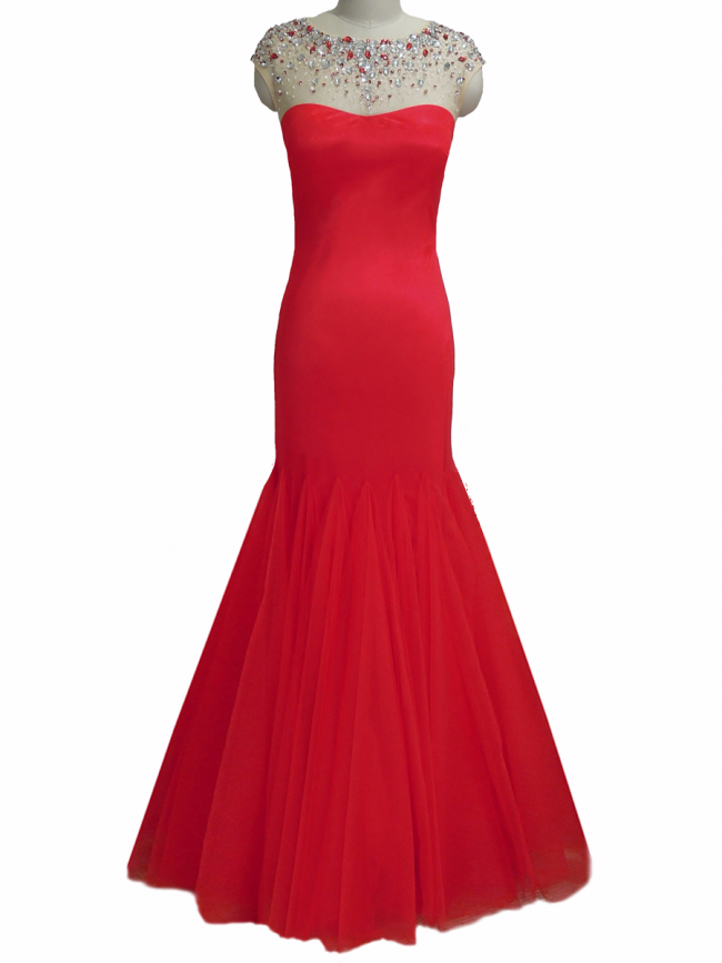 Red mermaid crystal & rhinestone embellish full length evening cruise prom gown