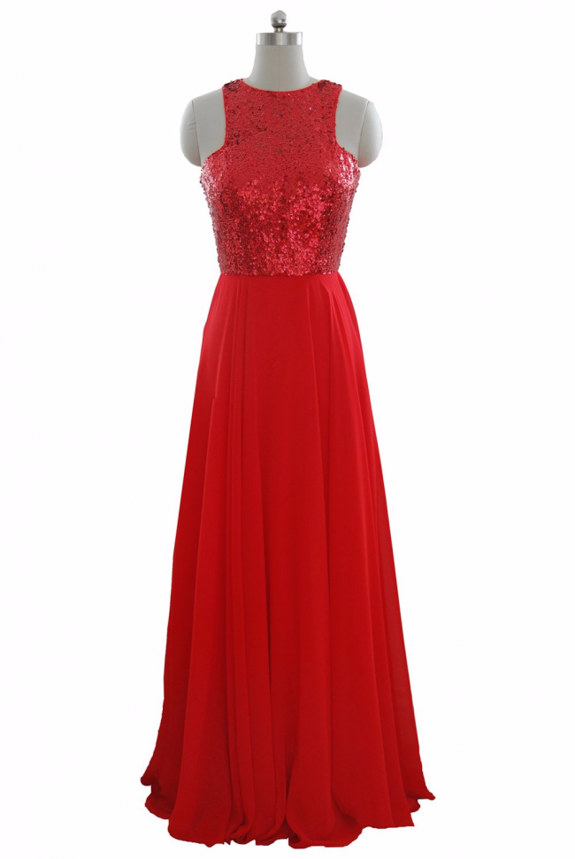 Red sequins chiffon halter neck long evening dress formal wear