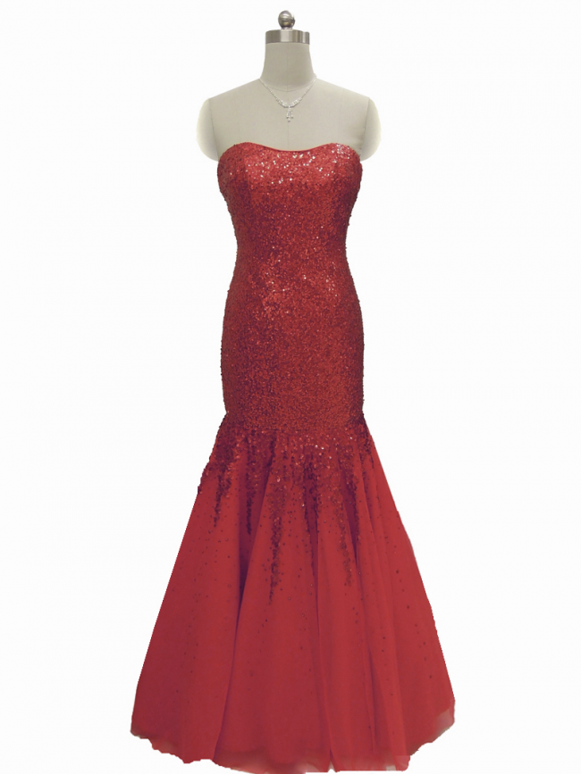 Red Strapless sequin mermaid evening gown prom cruise wear